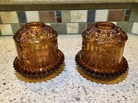 2)Tiara Like Vintage HOMCO Amber Glass Fairy Candle Lamp Home Interiors Designs.