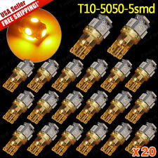 20pcs Amber Yellow T10/194/168/2825 5050 SMD 5 LED Super Bright Lights Lamp Bulb