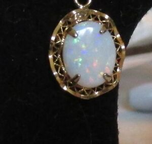 Oval Opal Filigree Necklace 14kt Gold Filled Chain EUC