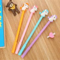 8pcs Cute Cartoon Kawaii Colorful Unicorn Horse Gel Ink Ball Pens School Gifts
