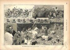 Guerriers Nubiens Ethiopie Girafe Jardin D'acclimatation à Paris  GRAVURE 1877