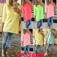UK Womens Loose Pullover T Shirt Autumn Long Sleeve Cotton Long Tops Fashion Tee