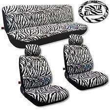 Zebra Seat Covers Low Back 11pc Front Rear Bench Headrests Stripe Fur Print CS10