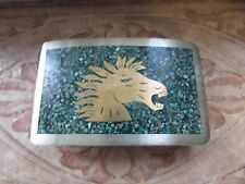 FABULOUS VINTAGE MEXICAN SILVER HORSE BELT BUCKLE WITH TURQUOISE