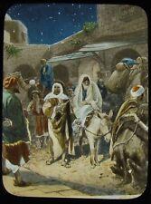 COLOUR Glass Magic Lantern Slide ARRIVAL AT BETHLEHEM INN C1900 RELIGIOUS BIBLE