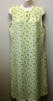 April Cornell Womens S Yellow Floral Rayon Sundress Sleeveless Keyhole Neckline