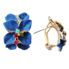 Navachi Blue Enamel Flower Leaves 18K GP  Crystal Omega Earrings BH1507