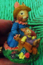 Resin Mummy RABBIT FIGURINE Pushing Baby Bunny, Simson Giftware, Easter, To Hang