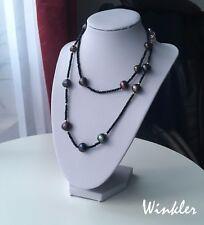 schwarze lange Halskette mit echten Perlen wie Tahiti Perlen|Barock mehr Reihe