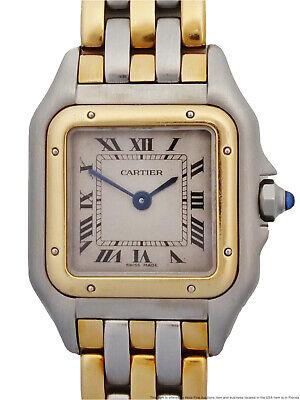 18k Gold Steel Cartier Panthere 3 Row Gold Bracelet Ladies Vintage Watch Works