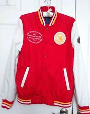 ZARA MAN Red/White Nylon University of Life Letterman Jacket( Patches) Large