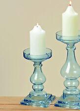 KERZENLEUCHTER TISCHLEUCHTER LEUCHTER GLAS BLAU DEVEN 24 CM
