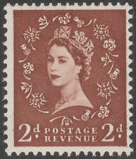 1961 SG573wi 2d LIGHT RED BROWN WATERMARK CROWNS INVERTED UNMOUNTED MINT