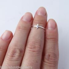 Sideways Cross Midi Ring - 925 Sterling Silver - Knuckle Ring Midi Ring Adjusts