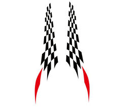 Pair Checker Flag Racing Decals Car Side Door Full Cover Stickers for TRD Letter