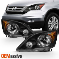 Fits 2007-2011 Honda CR-V Black Headlights Complete Replacement 07 08 09 10 11