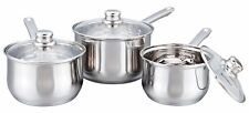 Buckingham 3 Piece Induction Saucepan Cookware Pot Pan Set Stainless Steel Glass