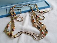 "LOVELY VINTAGE MULTI COLOUR GLASS  BEADED  50"" NECKLACE"