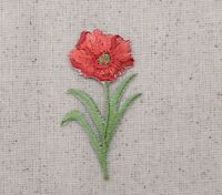 Small - Single Red Poppy/Poppies/Flowers - Iron on Applique/Embroidered Patch