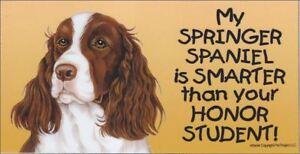 Springer Spaniel Smarter Than Your Honor Student Magnet 4x8 refrigerator car dog
