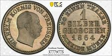 1864-A Germany Prussia 1 Silber Groschen PCGS MS66 Top Finest Nice Toning!