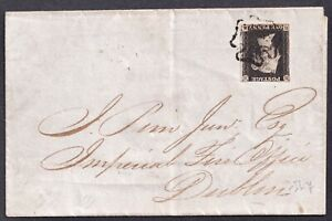 1840, SG1, PENNY BLACK, Pl. 8, HA, IRISH, Cover, MX, QV, Victoria, UK,GB,Britain
