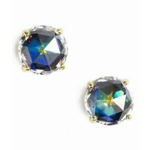 NWT Kate Spade Bright Ideal Round Stud Earrings Jet Midnight CZ