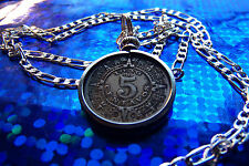 "pre 1945 Mexican Mayan Calendar Coin Pendant on a 30"" Sterling Silver Chain"