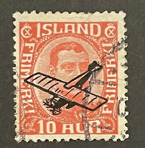 Iceland 1928 10a Red. Optd With Airplane (VFU)