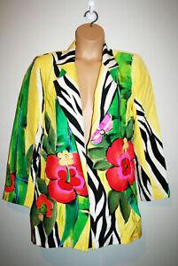 Womens YOLANDA LORENTE 100% Silk Yellow Floral Handpainted Blazer Jacket Small S