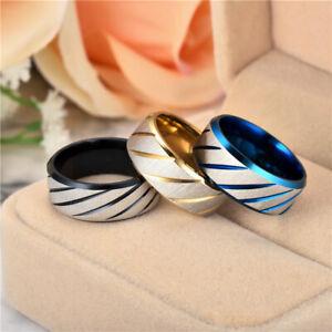 Men Black Titanium Stainless Ring Wedding Lover Couple Rings For Women Size 7-13