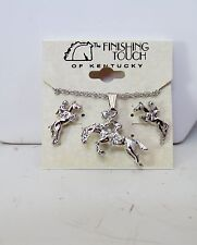 New Horse Hunter Jumper English Silver Tone Necklace & Earrings Jewelry Set