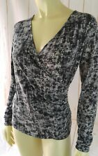 Lilla P Top S Black Gray Poly Spandex Pullover Stretch Knit Top Faux Wrap