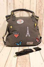 Bolsa nuevo bolso de mano gris negro Patch Bottoms mariposa parís corazón EE. UU.