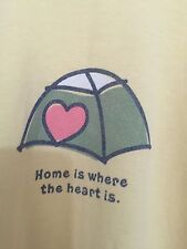 "LIFE IS GOOD WOMEN T- SHIRT XXL Yellow Long Sleeve ""Home is where the Heart is"""