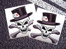 SKULL VAMPIRE With Top Hat And Crossbones  Playing Cards Stickers 4 Aces Tattoo
