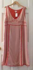 NWT Pea in the Pod 100% silk with silk lining polka dot maternity dress L $