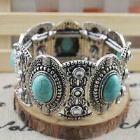 Chic Boho Womens Retro Vintage Natural Turquoise Tibetan Silver Bracelet  XBUK