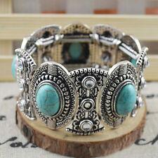Chic Bohème Womens Retro Vintage turquoise bracelet argent tibétain 9H