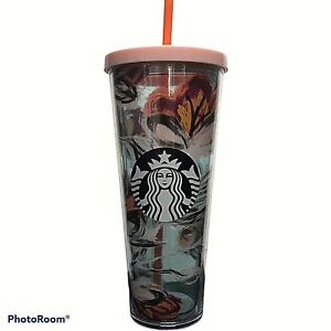 Starbucks 2019 Peony Flower Floral Tumbler Acrylic Venti 24 oz Damage See Pic