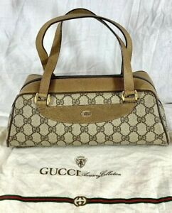 GUCCI Accessory Collection Vintage Tan Canvas and Leather Trim Satchel Bag