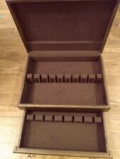New listing Vtg Reed & Barton Silverware Flatware Wooden Box w Drawer Storage Chest Only