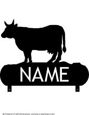 Cow Mailbox Topper (Your Name) Your Choice Of Powder Coat Finish Color