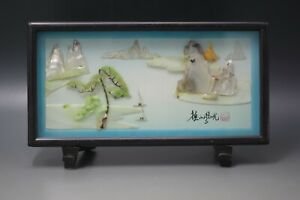 VINTAGE ORIENTAL SHELL ART MOTHER OF PEARL JADE DIORAMA FRAMED SIGNED