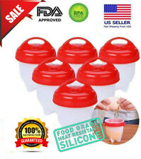 12/6Pcs Silicone Egg Cooker Hard Boiled Non Stick Without the Shell BPA FREE