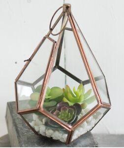 Geometric teardrop planter or lantern, Terrarium, copper and glass, hanging
