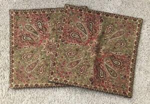 Set Of 2 Pottery Barn Velvet Paisley Pillow Covers