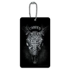 Carved Faith Freedom Religion Steer Skull Luggage Card Suitcase Carry-On ID Tag