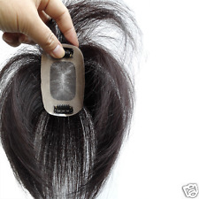 """HOT 2.8X4"""" Swiss Mono Top Piece Real Human Hair Topper Clip in Hair Piece 6""""~12"""""""
