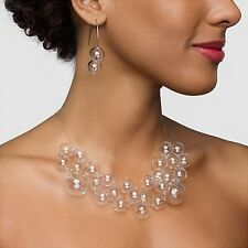 Brief Art Style Glass Bubble Necklace and Earring Modern Hollow Bead Accessories